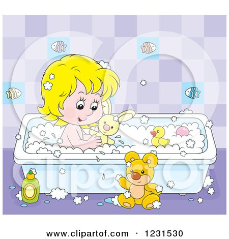 Clipart of a Caucasian Girl Playing with Toys in the Bath Tub - Royalty Free Vector Illustration by Alex Bannykh