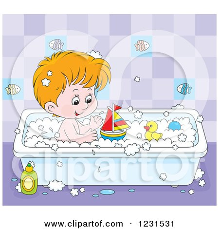 Clipart of a Caucasian Boy Playing with Toys in the Bath Tub - Royalty Free Vector Illustration by Alex Bannykh