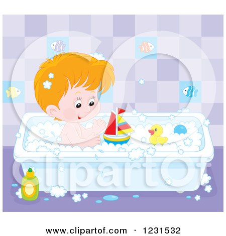 Clipart of a White Boy Playing with Toys in the Bath Tub - Royalty Free Vector Illustration by Alex Bannykh