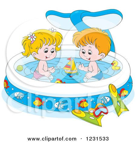 Clipart of a White Boy and Girl with Toys in a Whale Swimming Pool - Royalty Free Vector Illustration by Alex Bannykh