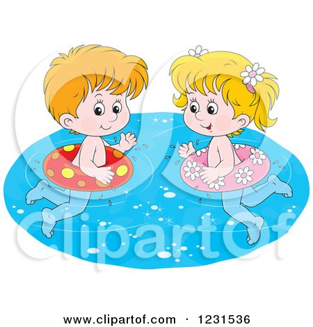 Clipart of a Caucasian Boy and Girl Swimming with Inner Tubes - Royalty Free Vector Illustration by Alex Bannykh