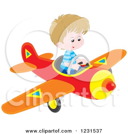 Clipart of a Caucasian Boy Flying a Plane - Royalty Free Vector Illustration by Alex Bannykh