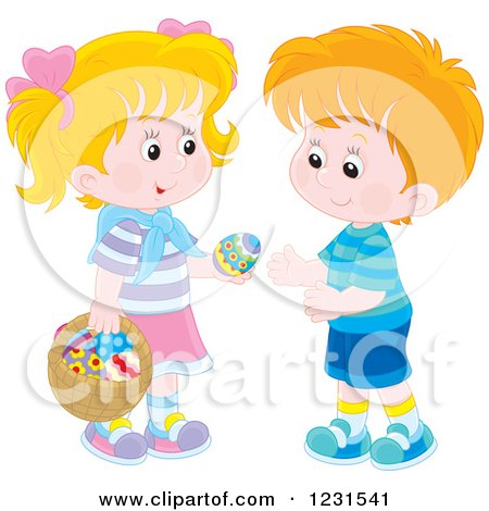 Clipart of a Caucasian Boy and Girl Exchanging an Easter Egg - Royalty Free Vector Illustration by Alex Bannykh