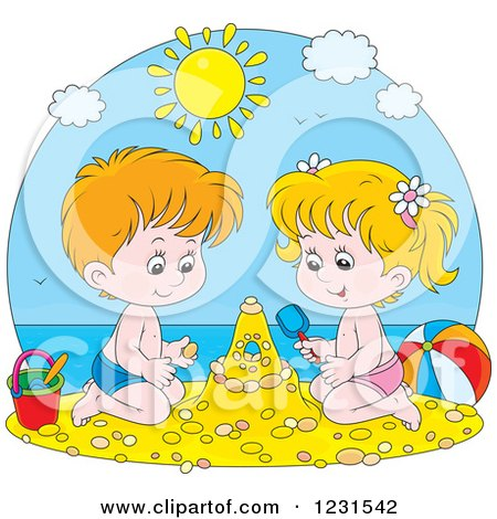Clipart of a White Boy and Girl Making a Sand Castle - Royalty Free Vector Illustration by Alex Bannykh