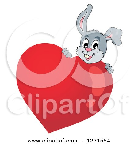 Clipart of a Valentine Bunny Rabbit Behind a Heart - Royalty Free Vector Illustration by visekart