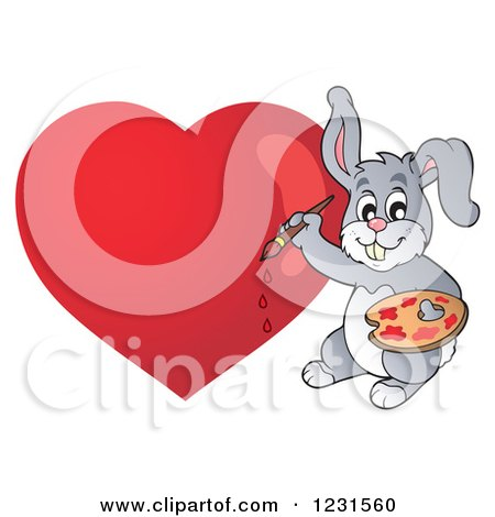 Clipart of a Valentine Bunny Rabbit Painting a Heart - Royalty Free Vector Illustration by visekart