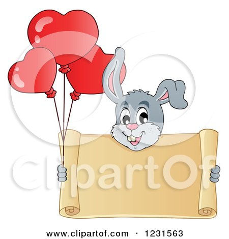 Clipart of a Valentine Bunny Rabbit with Heart Balloons and a Scroll Sign - Royalty Free Vector Illustration by visekart