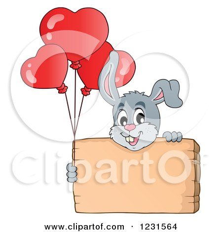 Clipart of a Valentine Bunny Rabbit with Heart Balloons and a Wood Sign - Royalty Free Vector Illustration by visekart