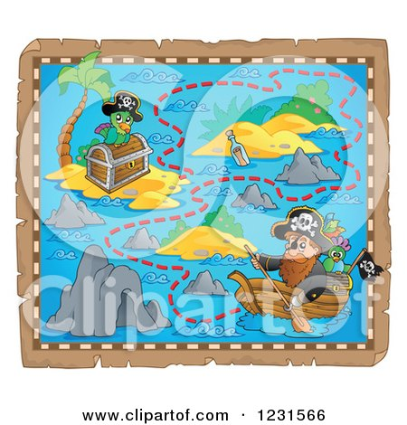 Clipart of a Pirate Rowing a Boat on a Treasure Map - Royalty Free Vector Illustration by visekart