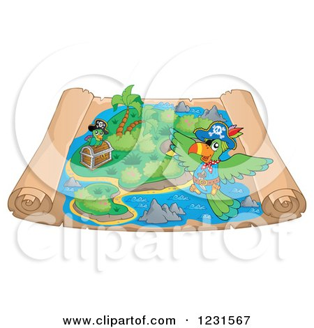 Clipart of a Pirate Parrot over a Parchment Treasure Map - Royalty Free Vector Illustration by visekart
