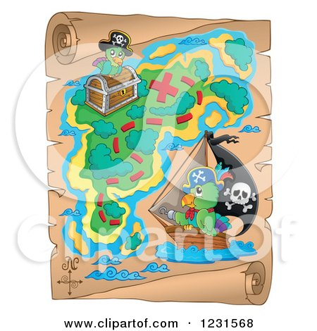 Clipart of a Parchment Treasure Map with Pirate Parrots - Royalty Free Vector Illustration by visekart