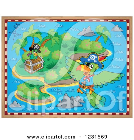 Clipart of a Treasure Map Island with Parrots - Royalty Free Vector Illustration by visekart