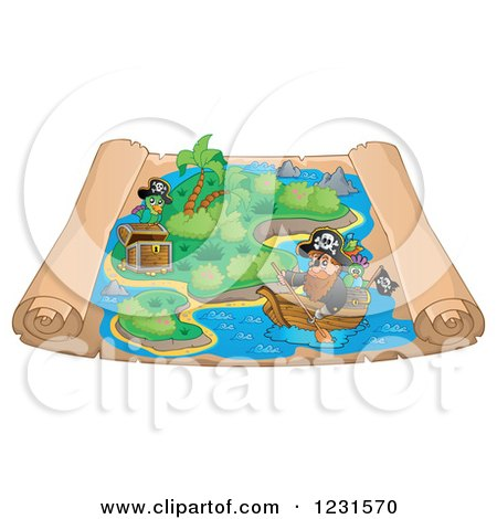 Clipart of a Pirate Rowing a Boat on a Parchment Treasure Map - Royalty Free Vector Illustration by visekart