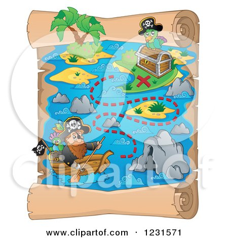 Clipart of a Pirate Rowing on a Parchment Treasure Map - Royalty Free Vector Illustration by visekart