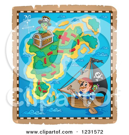 Clipart of a Pirate on a Boat on a Treasure Map - Royalty Free Vector Illustration by visekart