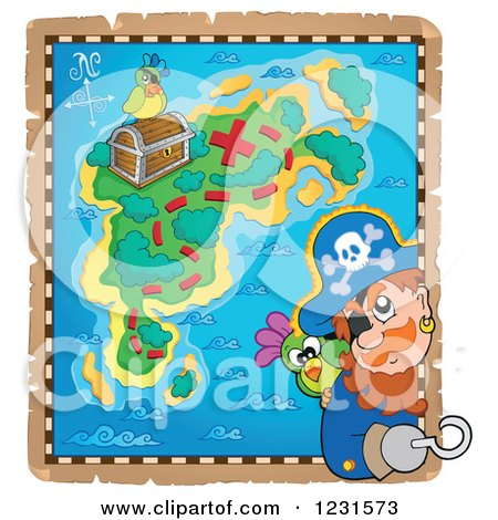 Clipart of a Captain Pirate Looking out from a Treasure Map - Royalty Free Vector Illustration by visekart