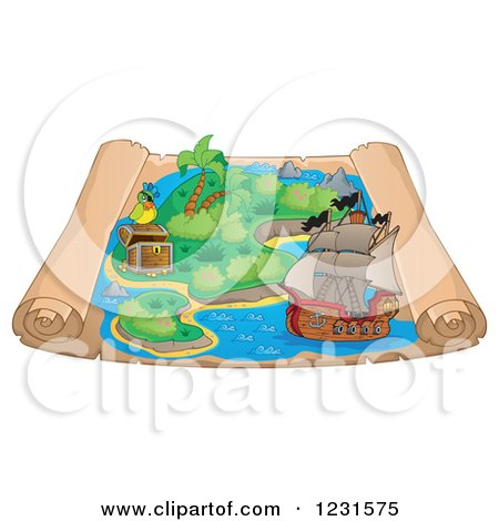 Clipart of a Pirate Ship on a Parchment Treasure Map - Royalty Free Vector Illustration by visekart