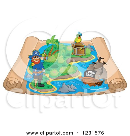 Clipart of a Pirate Captain and Ship on a Parchment Treasure Map - Royalty Free Vector Illustration by visekart