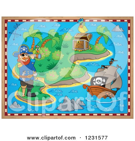 Clipart of a Captain Pirate, Ship and Parrot on a Treasure Map - Royalty Free Vector Illustration by visekart