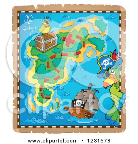 Clipart of a Pirate Ship and Parrots on a Treasure Map - Royalty Free Vector Illustration by visekart