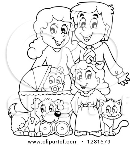 Clipart of Happy Outlined Parents with a Baby Daughter Dog and Cat - Royalty Free Vector Illustration by visekart
