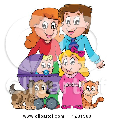 Clipart of Happy Parents with a Baby Daughter Dog and Cat - Royalty Free Vector Illustration by visekart