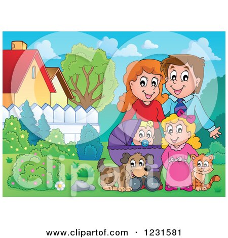 Clipart of Happy Parents with a Baby Daughter Dog and Cat in a Yard - Royalty Free Vector Illustration by visekart