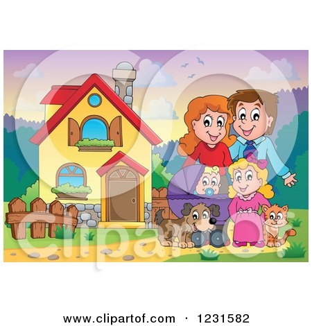 Clipart of Happy Parents with a Baby Daughter Dog and Cat in Their Front Yard - Royalty Free Vector Illustration by visekart