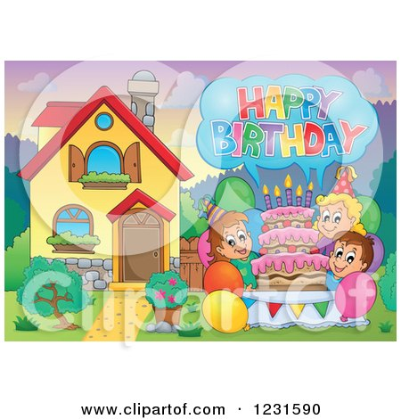 Clipart of Birthday Party Kids with a Greeting in a Home's Front Yard 2 - Royalty Free Vector Illustration by visekart