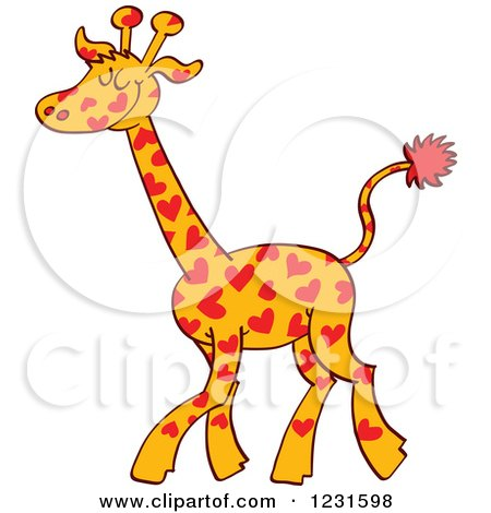 Clipart of a Happy Giraffe Spotted with Hearts - Royalty Free Vector Illustration by Zooco