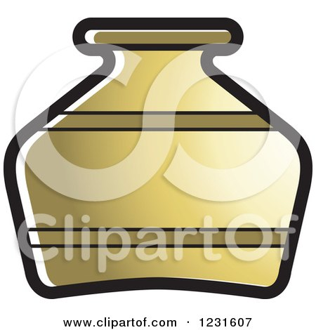 Clipart of a Gold Pottery Jug Icon - Royalty Free Vector Illustration by Lal Perera