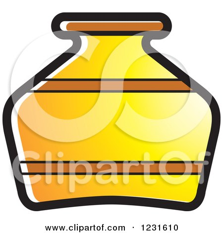 Clipart of a Yellow Pottery Jug Icon - Royalty Free Vector Illustration by Lal Perera