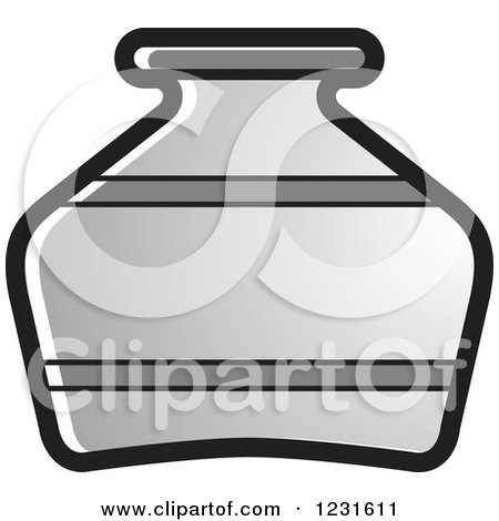 Clipart of a Gray Pottery Jug Icon - Royalty Free Vector Illustration by Lal Perera