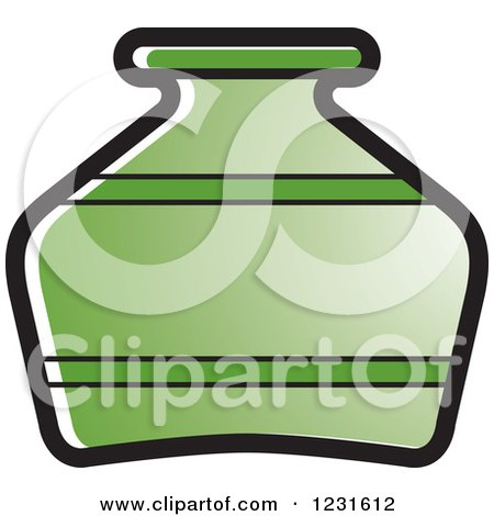 Clipart of a Green Pottery Jug Icon - Royalty Free Vector Illustration by Lal Perera