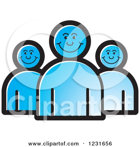 Clipart of a Blue Happy People Icon - Royalty Free Vector Illustration by Lal Perera