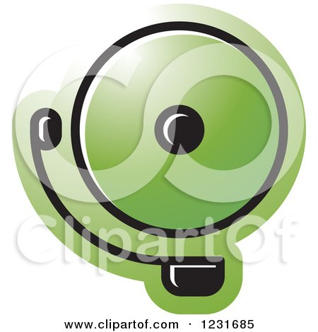 Clipart of a Green Electric Bell Icon - Royalty Free Vector Illustration by Lal Perera