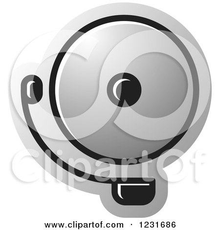 Clipart of a Silver Electric Bell Icon - Royalty Free Vector Illustration by Lal Perera