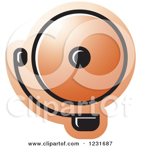 Clipart of an Orange Electric Bell Icon - Royalty Free Vector Illustration by Lal Perera