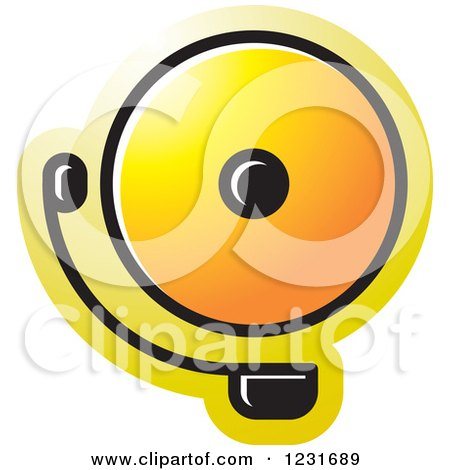 Clipart of a Yellow Electric Bell Icon - Royalty Free Vector Illustration by Lal Perera
