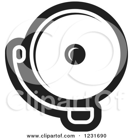 Clipart of a Black and White Electric Bell Icon - Royalty Free Vector Illustration by Lal Perera