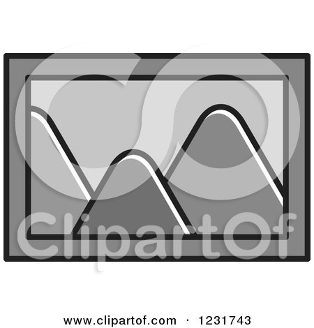 Clipart of a Gray Mountain Picture Icon - Royalty Free Vector Illustration by Lal Perera