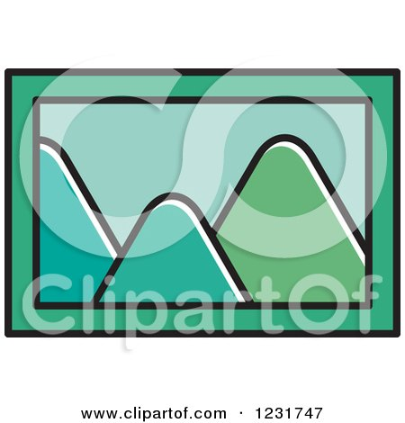 Clipart of a Green Mountain Picture Icon - Royalty Free Vector Illustration by Lal Perera