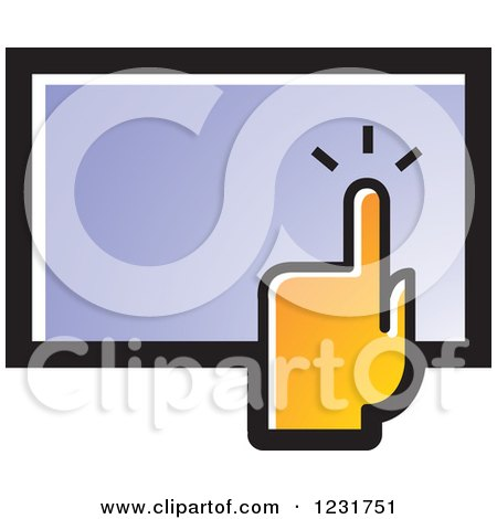 Clipart of an Orange Hand over a Touch Screen Icon - Royalty Free Vector Illustration by Lal Perera