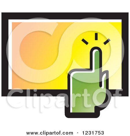 Clipart of a Green Hand over a Touch Screen Icon - Royalty Free Vector Illustration by Lal Perera