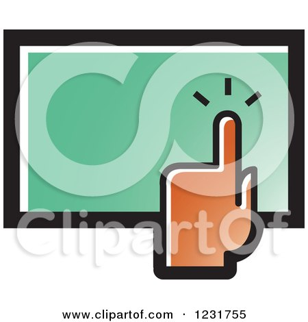 Clipart of a Brown Hand over a Touch Screen Icon - Royalty Free Vector Illustration by Lal Perera