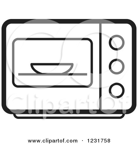Clipart Of A Happy Microwave Character Royalty Free