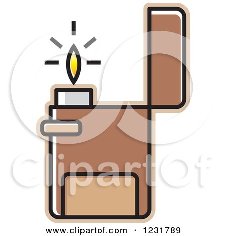 Clipart of a Brown Lighter Icon - Royalty Free Vector Illustration by Lal Perera