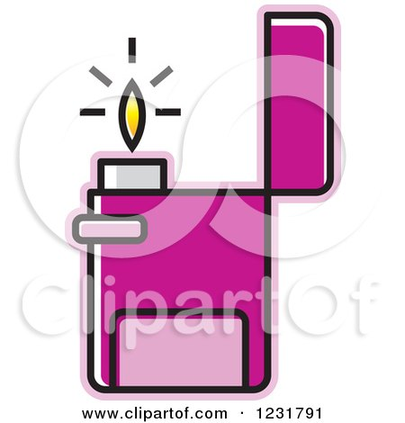 Clipart of a Purple Lighter Icon - Royalty Free Vector Illustration by Lal Perera