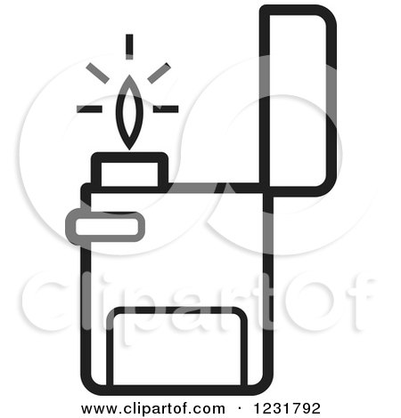 Clipart of a Black and White Lighter Icon - Royalty Free Vector Illustration by Lal Perera