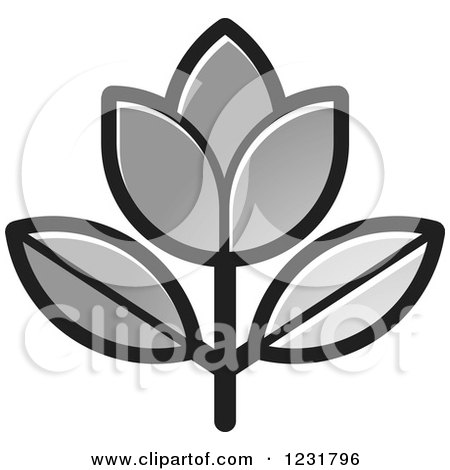Clipart of a Silver Flower Icon - Royalty Free Vector Illustration ...